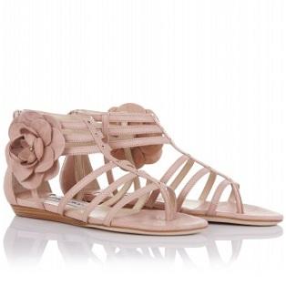 jimmy choo sandals flats nude flower detail