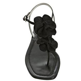 prada black flats sandals with flower detail