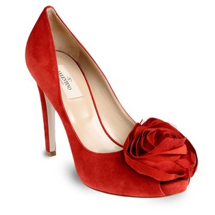valentino red shoes with flower detail