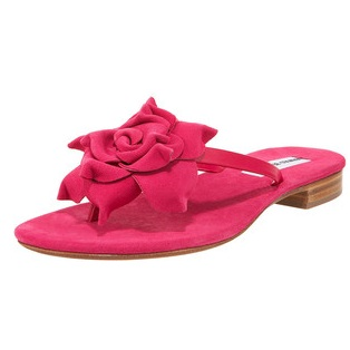 manolo blahnik red flats sandals with exquisite flower detail