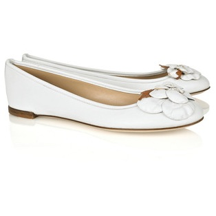 valentino white ballerina flats with flower detail