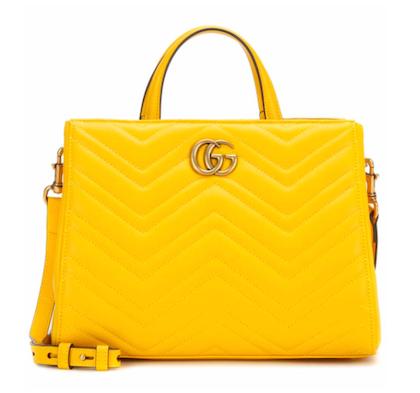 Yellow GUCCI Sylvie Mini embellished satin shoulder bag
