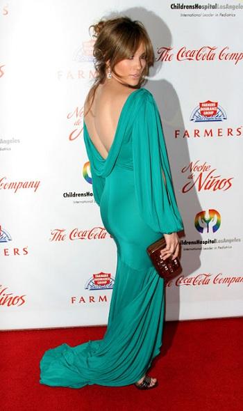 jennifer lopez in backless green evening dress