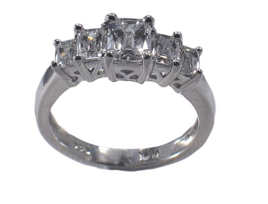 diamond engagement ring emerald cut clear set of 5 diamonds