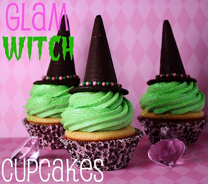 halloween treats in shape of glamorous and glittering witch hats