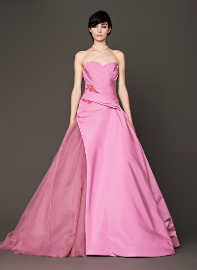 Vera wang brides will wear pink gowns in fall 2014 rich for Pink wedding dress vera wang