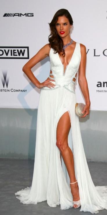 Alessandra Ambrosio in sexy white Roberto Cavalli dress in Cannes 2014