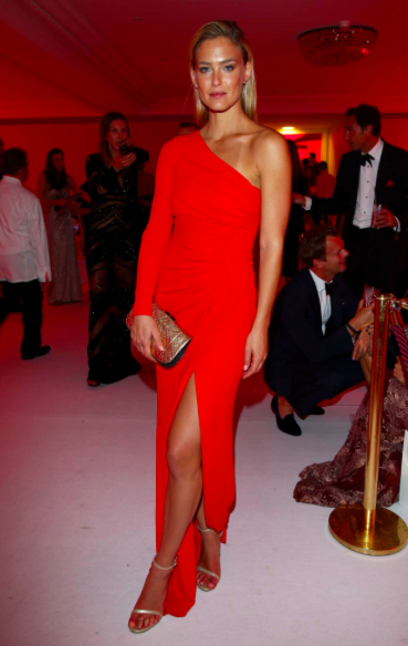 bar rafaeli in red Elie Saab dress in Cannes 2014