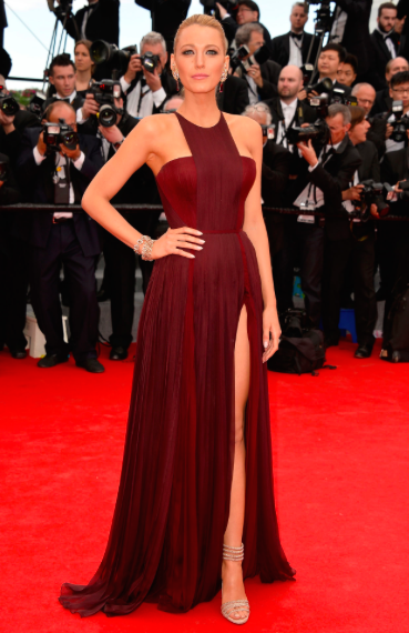 Blake Lively in red Gucci Premiere dress in Cannes 2014
