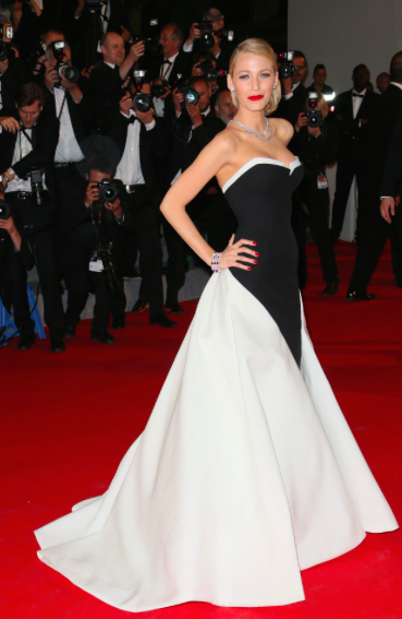 Blake Lively in black and white Gucci Premiere gown in Cannes 2014
