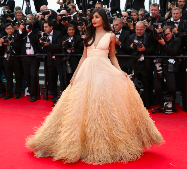 Freida Pinto in cream coloured feathered Michael Kors gown in Cannes 2014