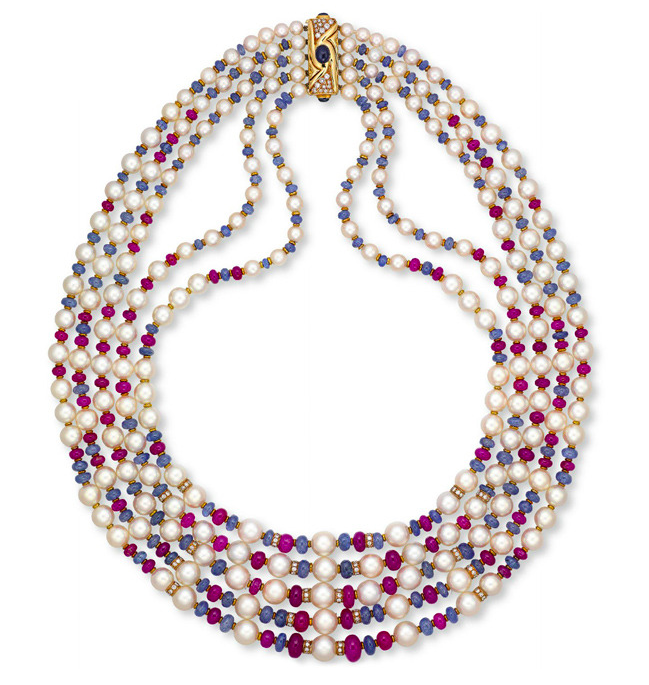 Bulgari pearl and diamond necklace