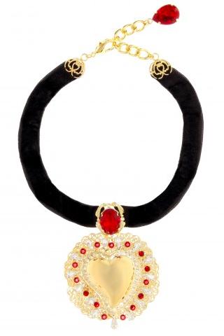 Chrystal-embellished velvet choker by Dolce & Gabbana