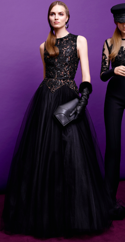 Elie Saab Pre Fall 2015 black lace evening dress for Amy Poehler red carpet