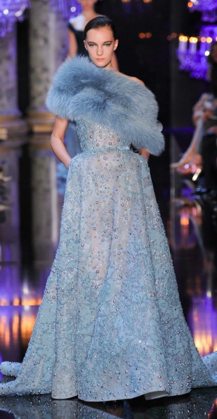 Elie Saab pale blue dress with fur collar for Reese Witherspoon