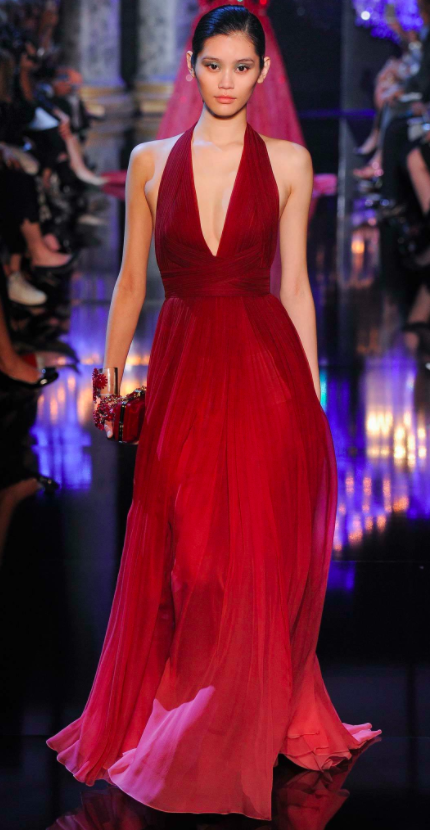 Elie Saab red dress with dramatic v neck for Amy Adams