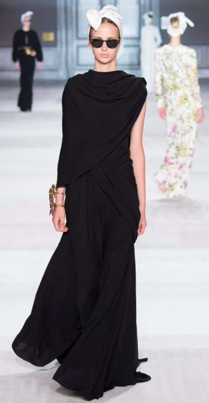 Giambattista Valli black evening dress with one naked arm picked for Robin Wright