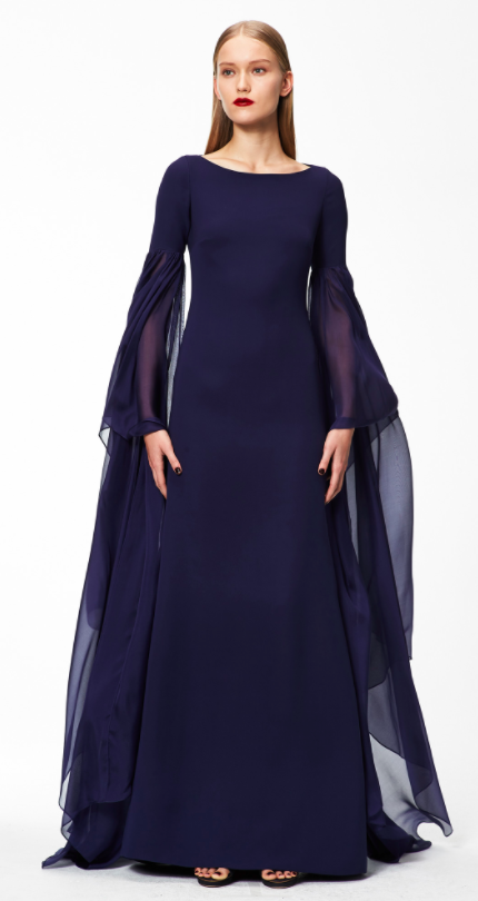 Monique Lhuillier dark blue dress with long sleeves for Rosamund Pike