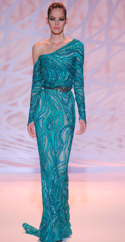 Zuhair Murad sequinned blue one shoulder dress for Viola Davis red carpet appearance