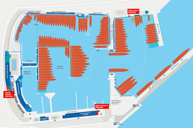 Map for Monaco yacht show 2015 with new berths and reorganised exhibition area