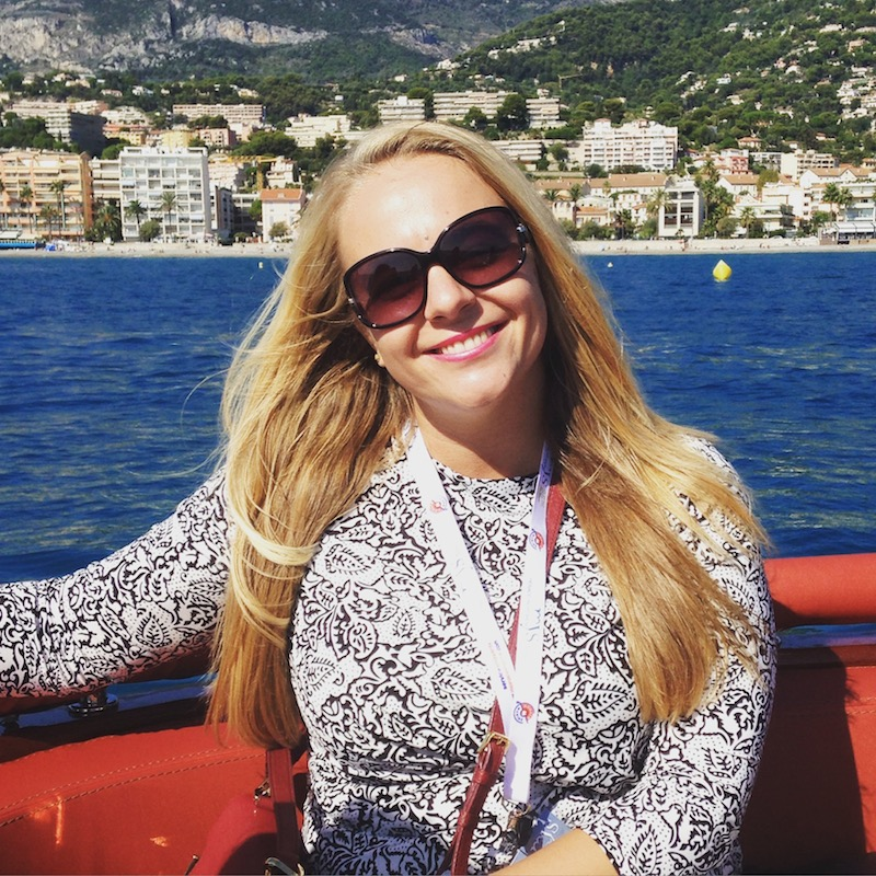 Julia Travchenko on a tender ride to Cap Martin with OCEAN Independence during Monaco Yacht Show