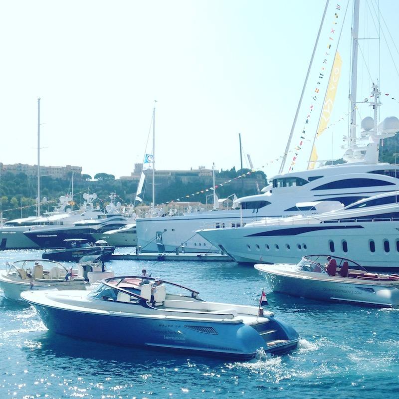 Tenders in the Port Hercules during Monaco Yacht Show