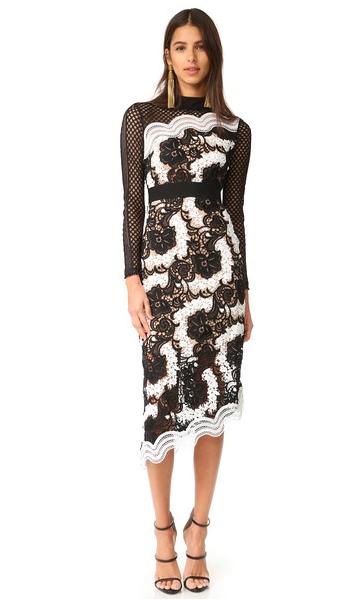 Asymmetrical Midi Dress by Self Portrait black and white