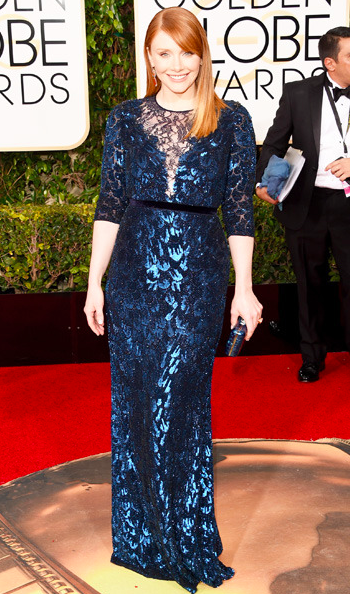 Bryce Dallas Howard in Jenny Peckham dress at the Golden Globes 2016 red carpet