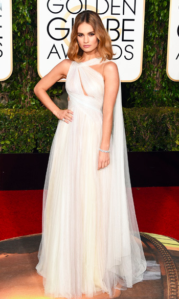 Lily James in white Marchesa gown at the Golden Globes 2016 red carpet
