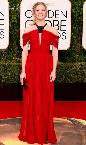 Natalie Dormer in red J Mendel dress at Golden Globes 2016