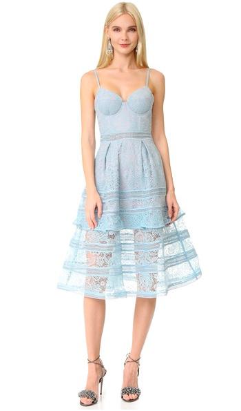 Paisley Midi Dress by Self Portrait pale blue
