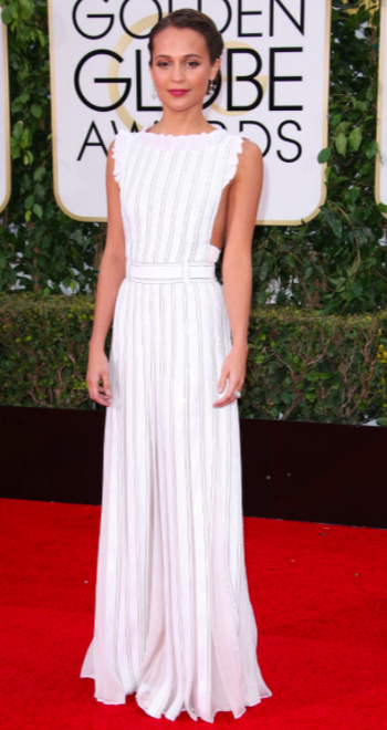 Alicia Vikander in Louis Vuitton dress at Golden Globes 2016 red carpet