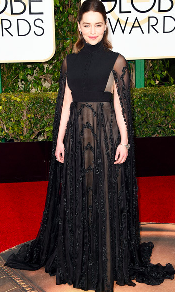 Emilia Clarke at the Golden Globes 2016 red carpet in Valentino Couture dress