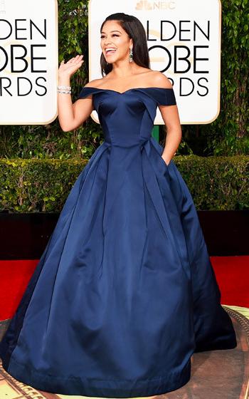 Gina Rodriguez in Zac Posen dress at Golden Globes 2016 red carpet