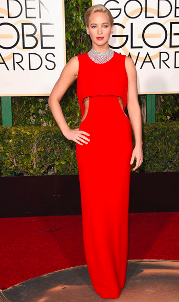 Jennifer Lawrence in red Dior dress at the Golden Globes 2016