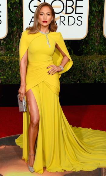 Jennifer Lopes at the Golden Globes 2016 red carpet in Giambattista Valli dress