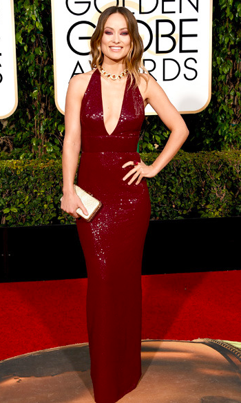 Olivia Wilde at the Golden Globe Awards 2016 red carpet in Michael Kors collection dress