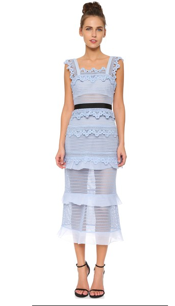 Self-Portrait dress blue lace