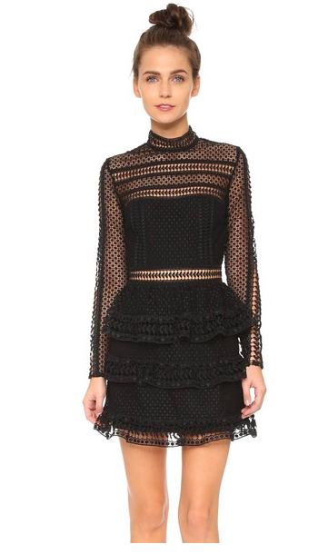 Self portrait black guipure lace dress with high neckline