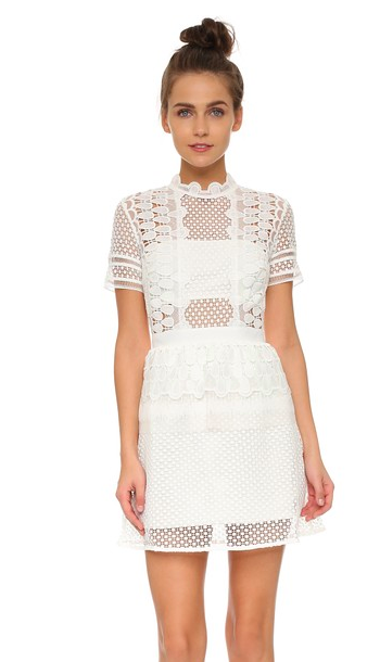 Self Portrait white lace sculpted dress