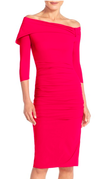 Chiara Boni La Petite Robe 'Andressa' Asymmetrical Off the Shoulder Jersey Sheath Dress