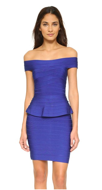 Off the shoulder Herve Leger Magdalena Dress