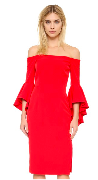 Milly Cady Selena Slit Off Shoulder Red Dress