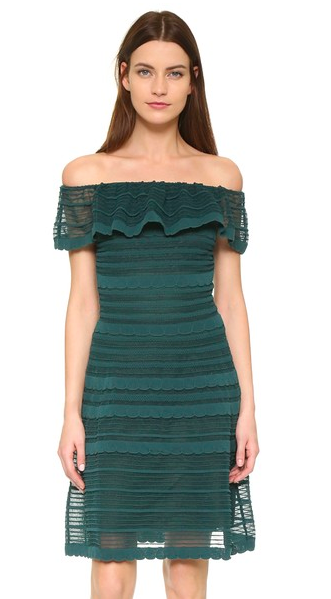 M Missoni Off Shoulder Ruffle Mini Dress green