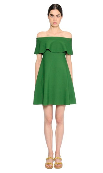 VALENTINO RUFFLED STRETCH VISCOSE KNIT off the shoulder DRESS