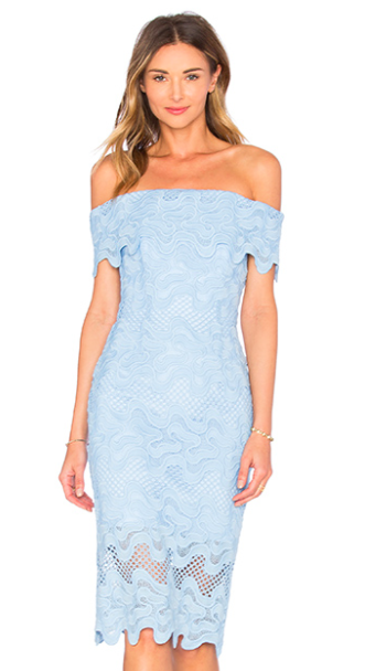 Nicholas SQUIGGLE LACE OFF SHOULDER DRESS