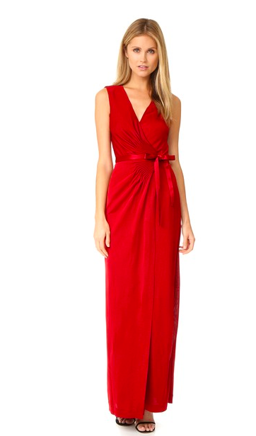 Diane von Furstenberg red wrap formal evening dress