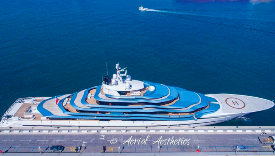 Jubilee yacht in port of Gibraltar by drone