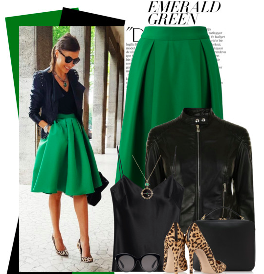 St. Patrick outfit idea with green skirt