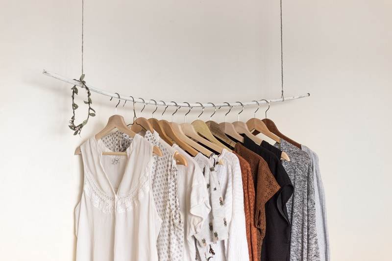 capsule collection of clothes on display